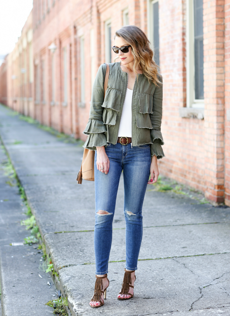 ruffled linen jacket