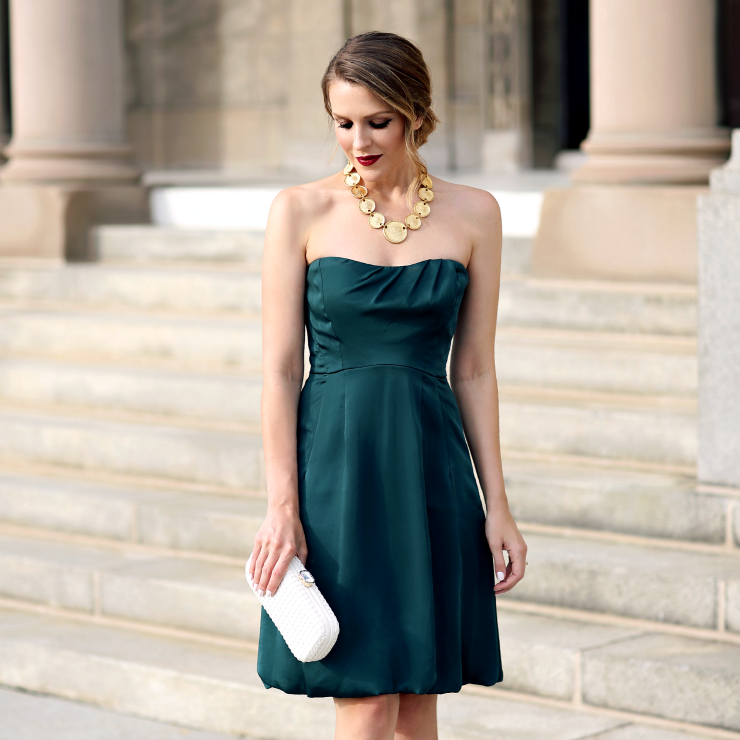 green satin dress
