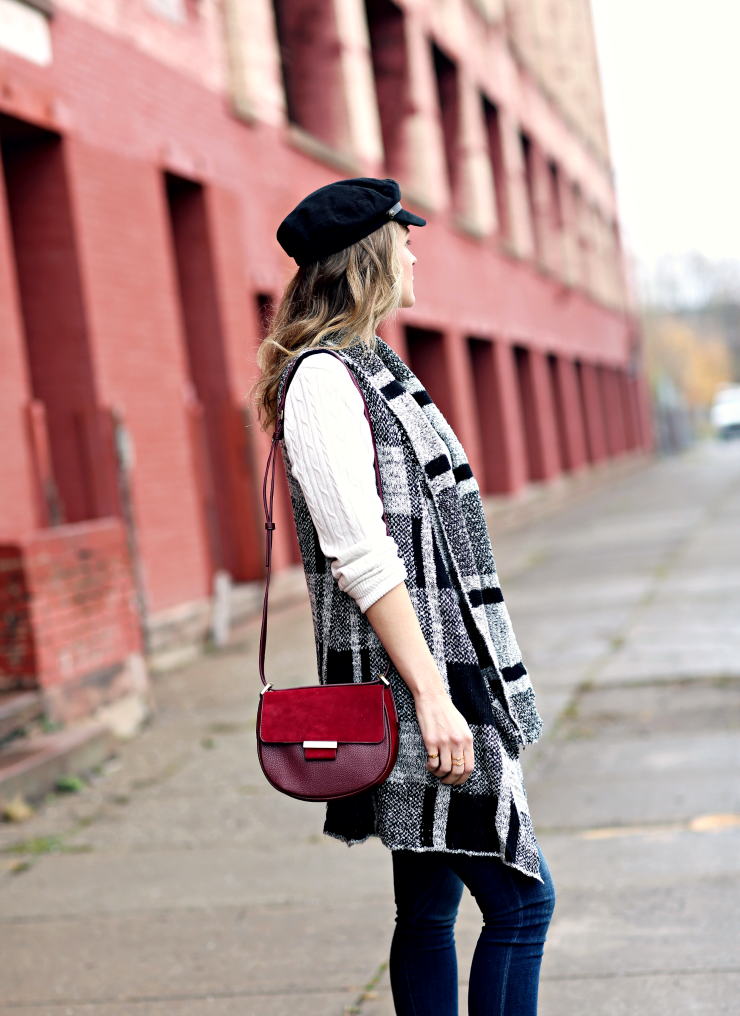 plaid knit vest