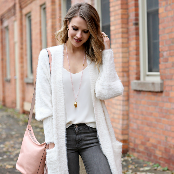 fluffy cardigan sweater