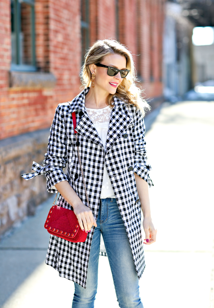French Connection gingham trench