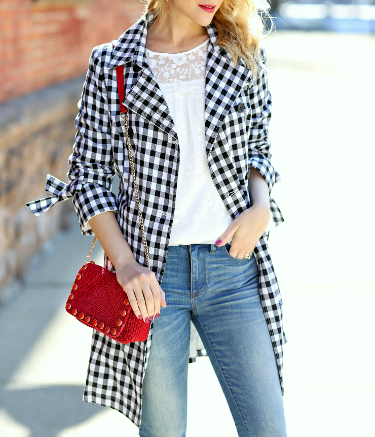 gingham patterned trench