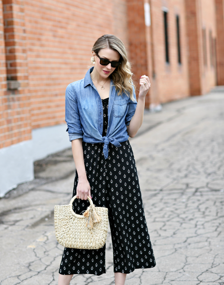 tied chambray shirt