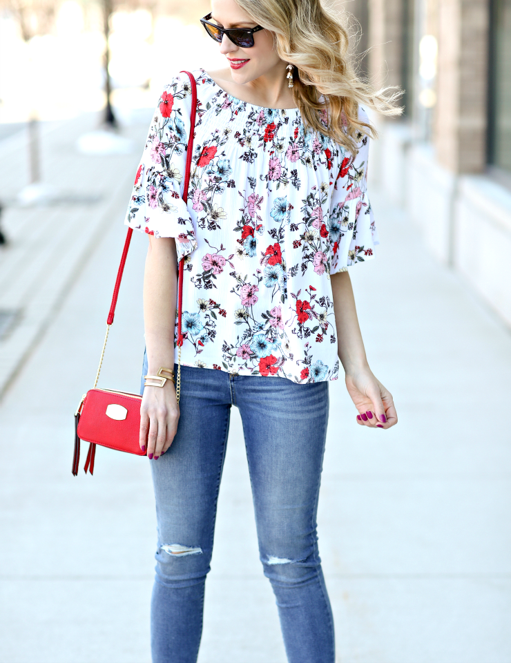 ana floral smocked top