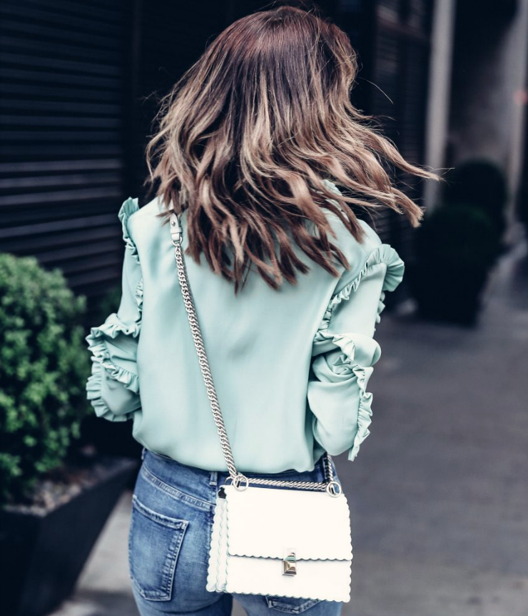 mint green blouse