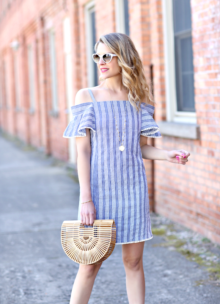 ruffled shoulder dress
