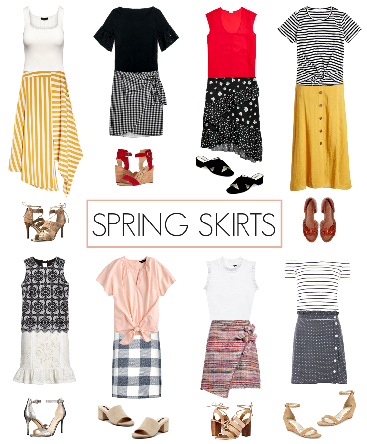 spring skirt outfit ideas