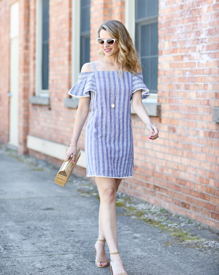 striped cold-shoulder dress
