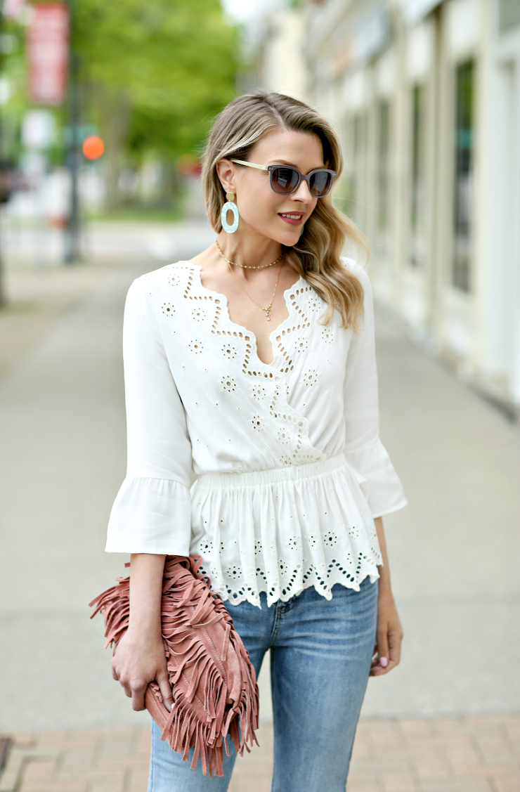 Express Eyelet Surplice Top