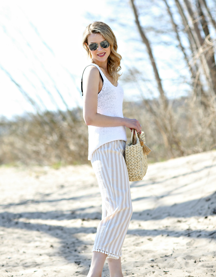 J Crew Factory Striped Beach Pants