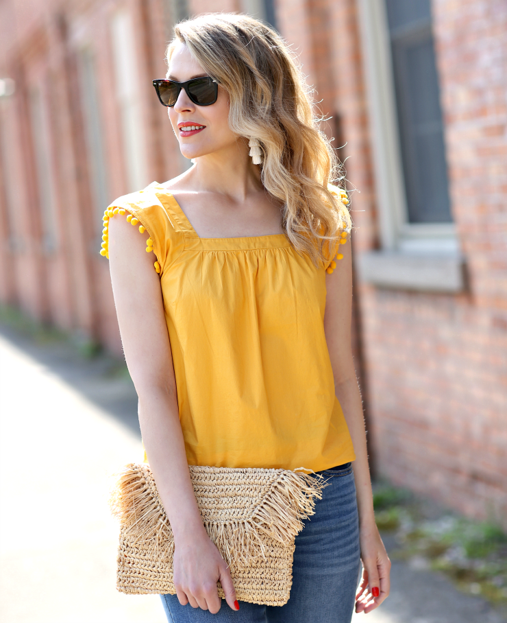 J. Crew Factory Pom Pom Top