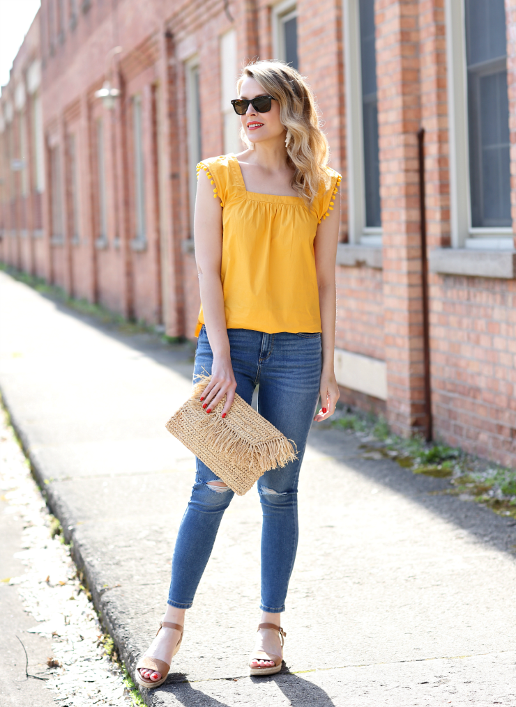 yellow pom pom top