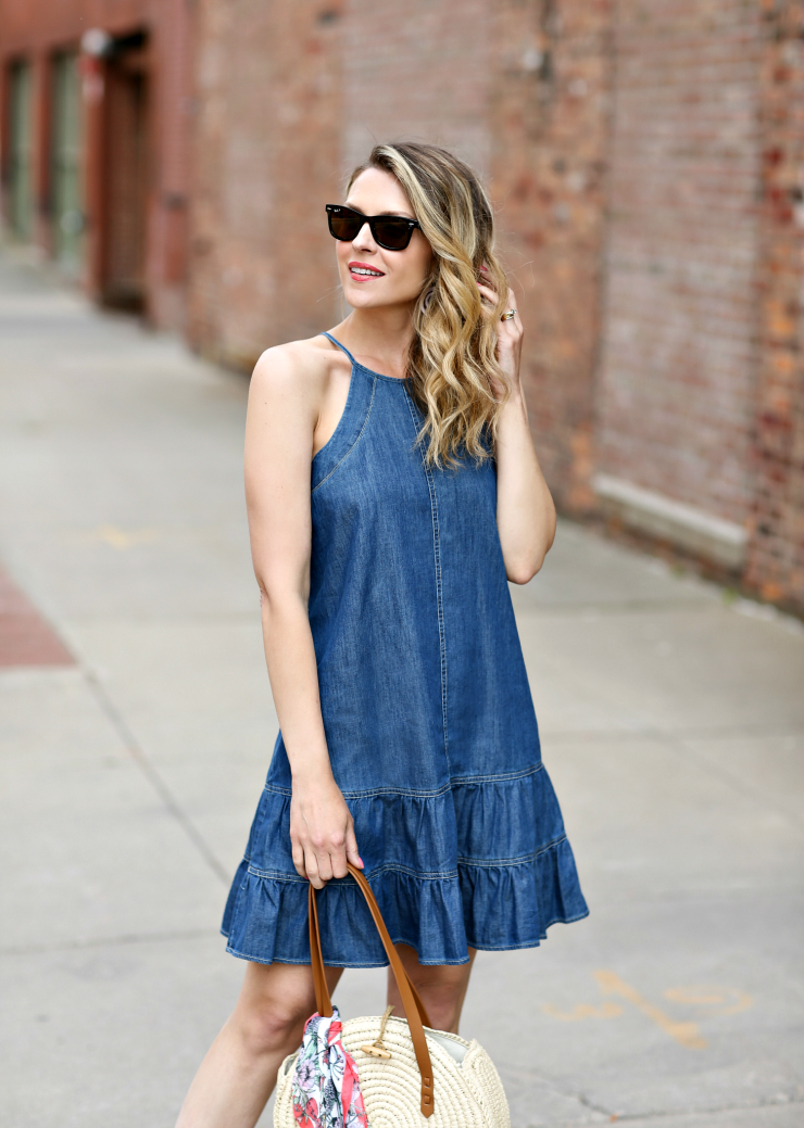 CeCe Ruffled Denim Dress