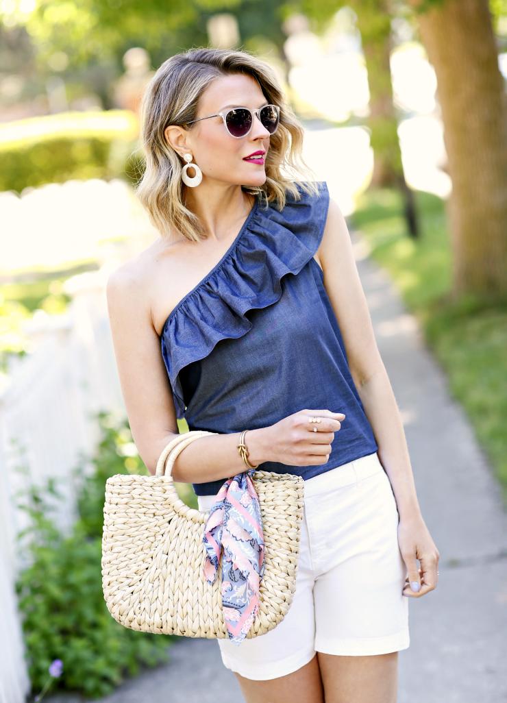 scarf on straw bag