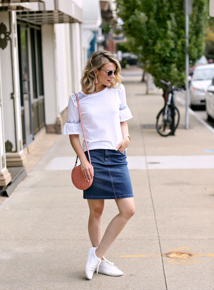 dressed down denim skirt