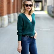 emerald green wrap sweater