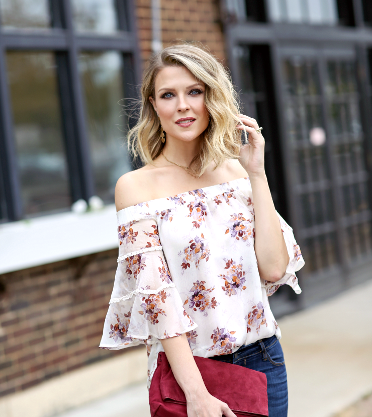 fall floral print top