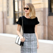 INC Zip-Front Plaid Skirt