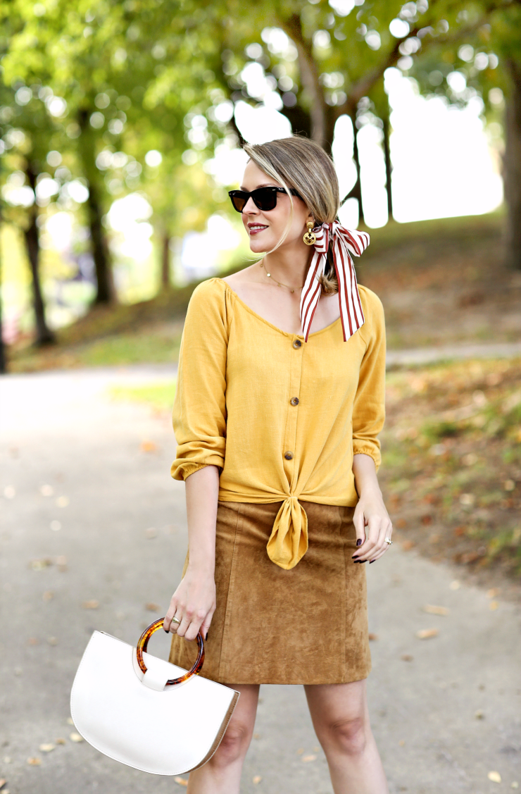 mustard buttoned top