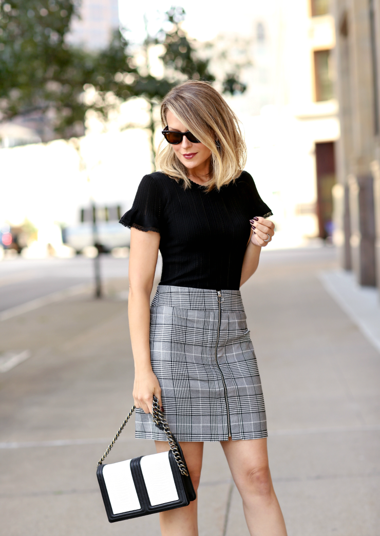 zip-front plaid skirt