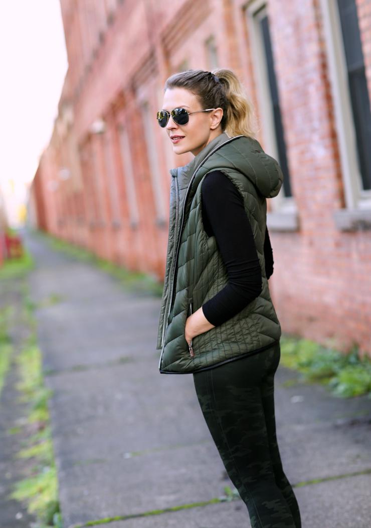 olive green puffer vest