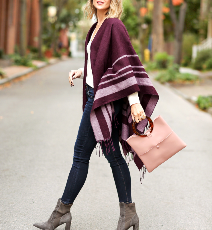 Striped fringe poncho