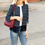 Tweed jacket with fringe