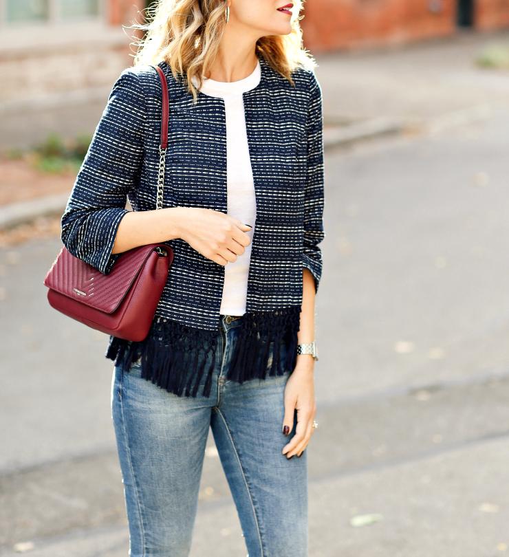 Tweed jacket with fringe