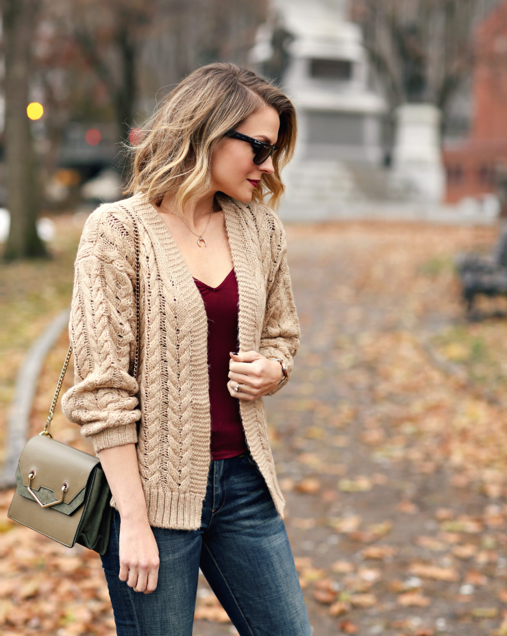 camel cable knit cardigan