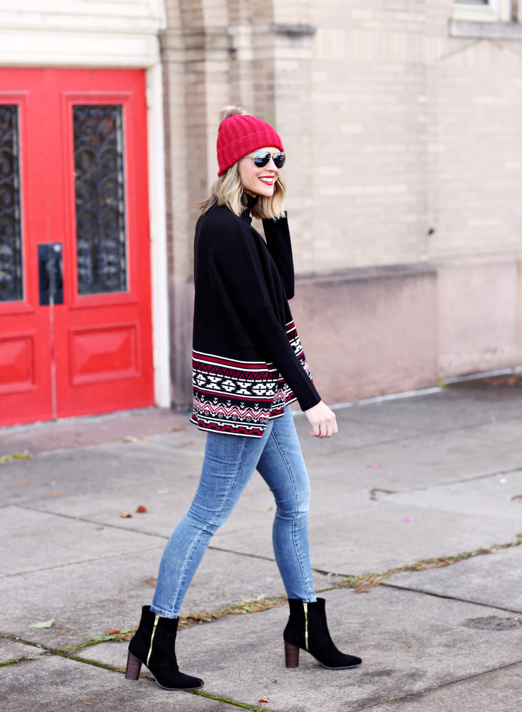 fair isle poncho sweater