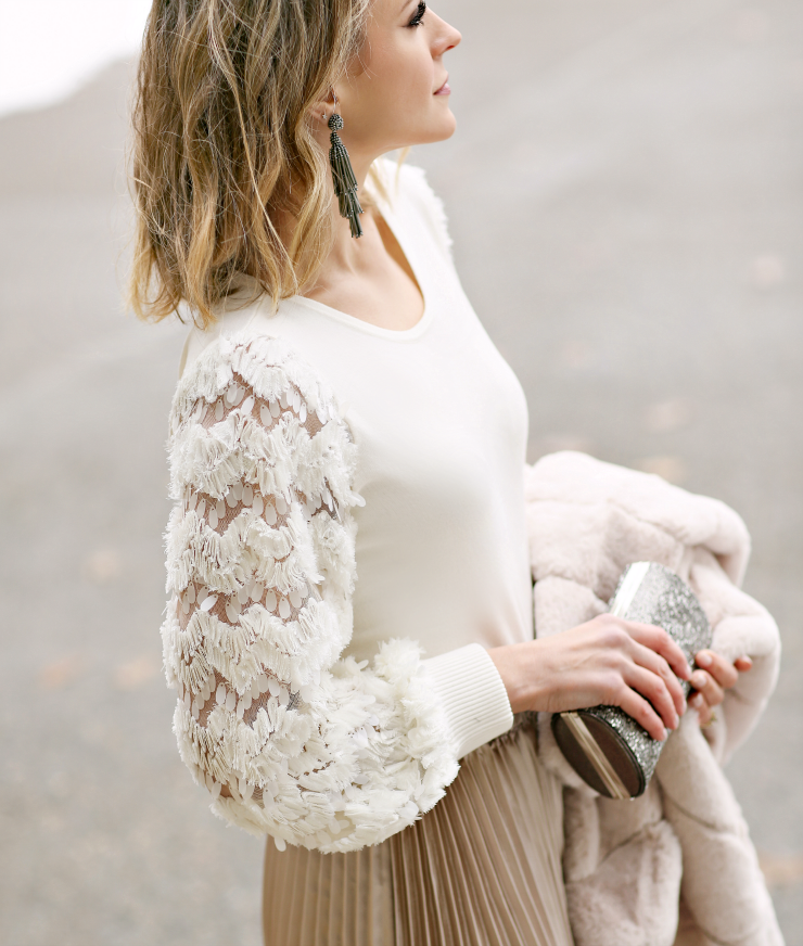 embellished sleeve sweater
