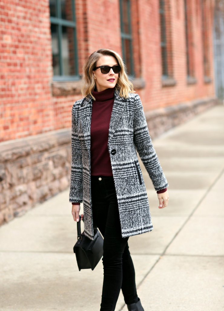 tailored plaid coat