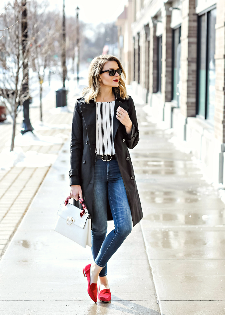 red suede pointed flats