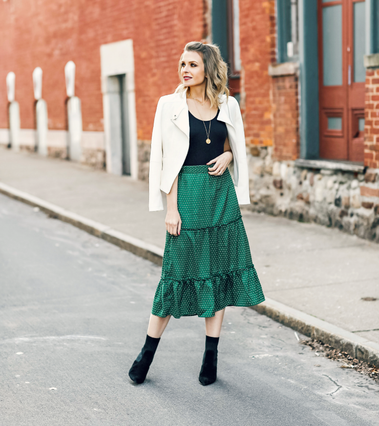 Who What Wear Tiered Midi Skirt