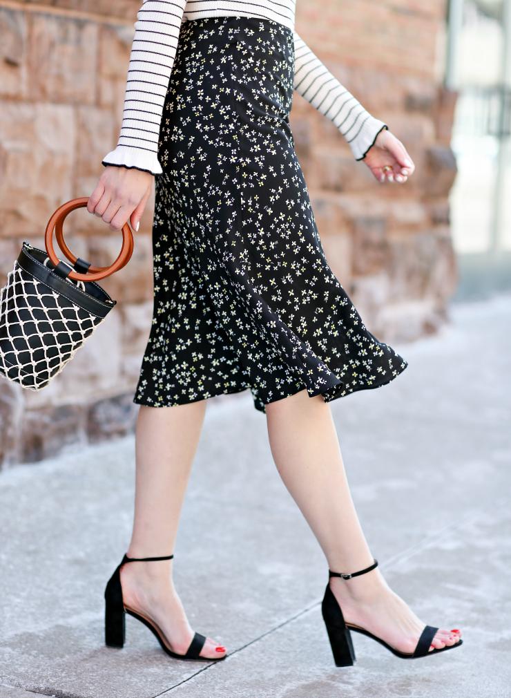 Bar III Floral Midi Skirt