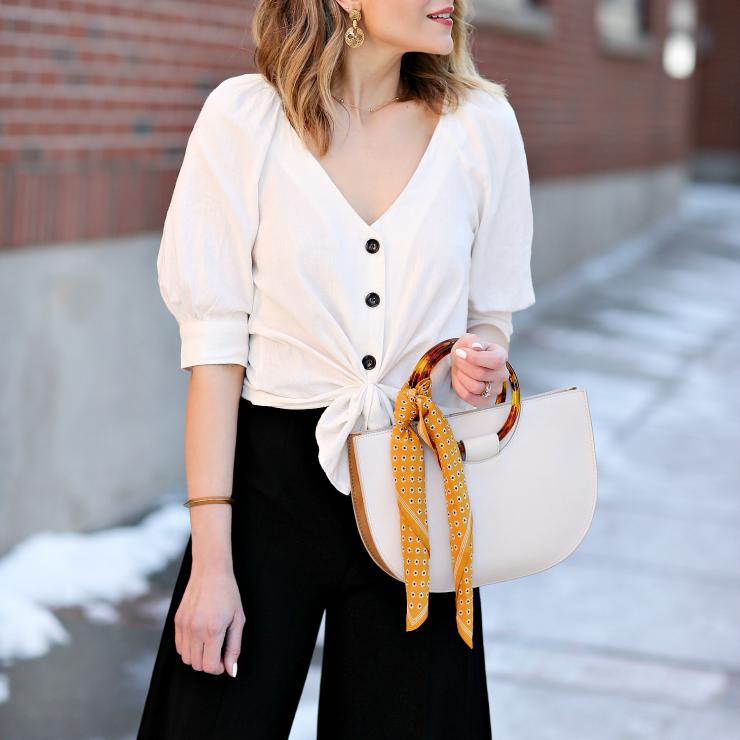 button-up linen blouse