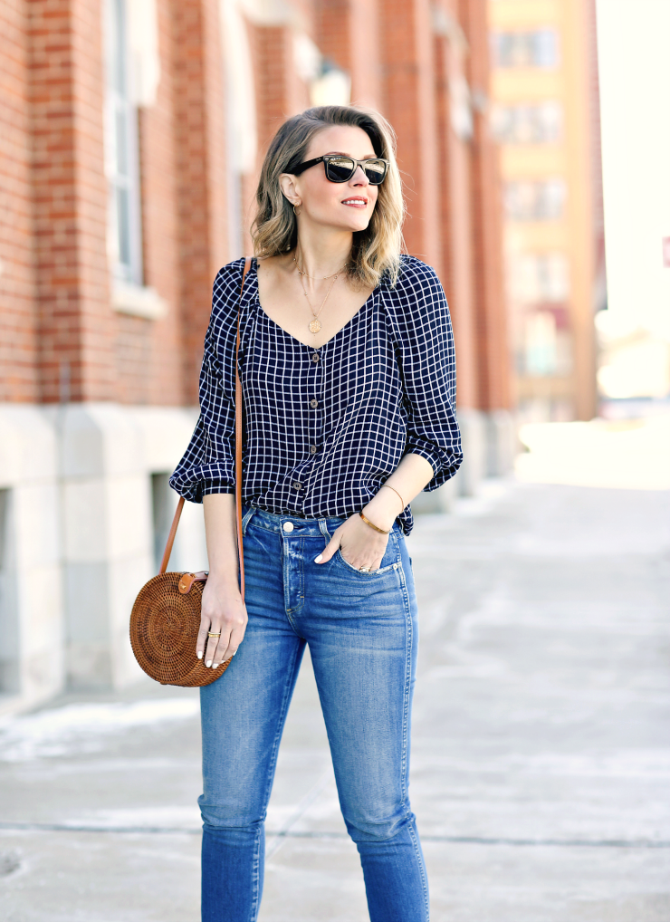 CeCe Windowpane Plaid Blouse