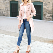 Blush trench coat