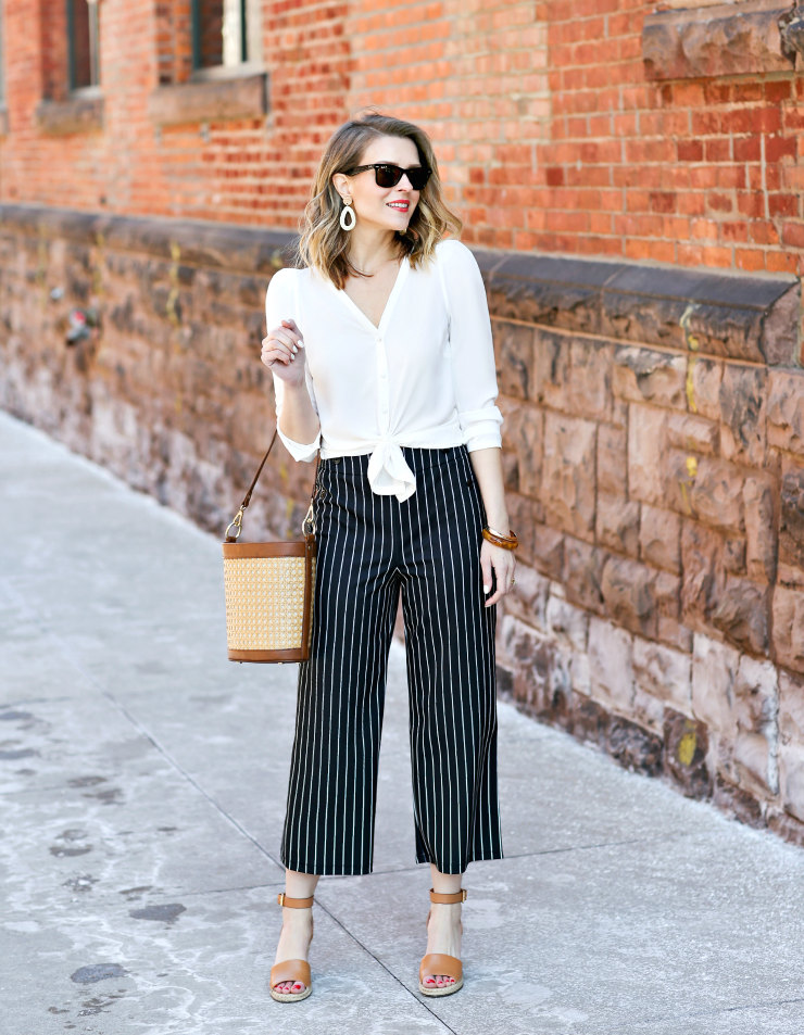 Maison Jules Wide Leg Crop Pants