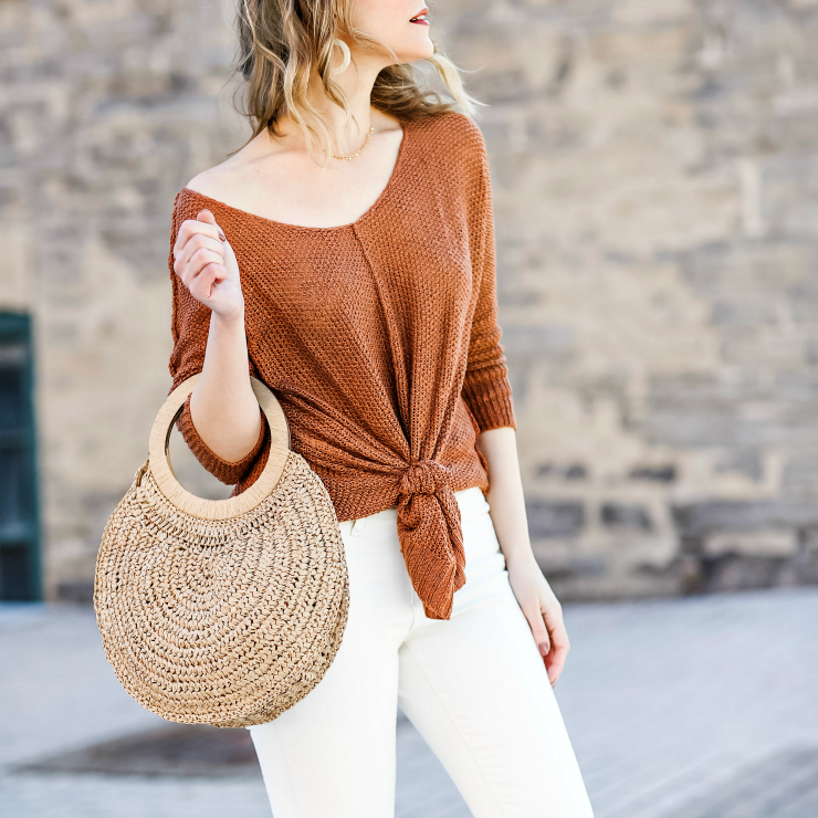 slouchy knotted sweater