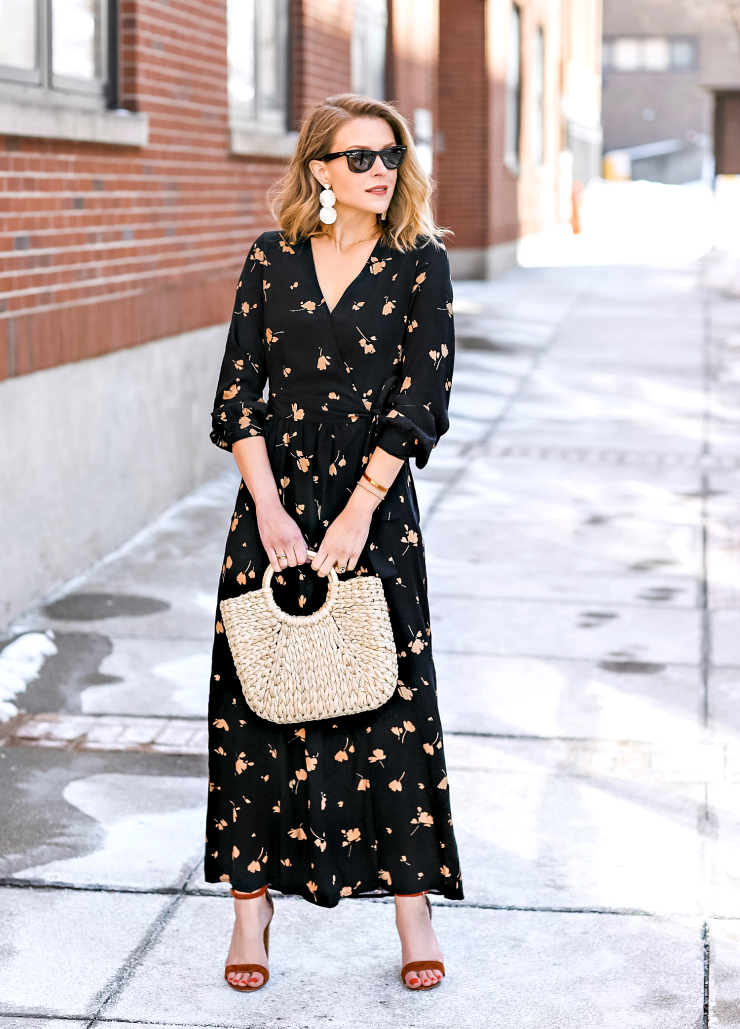 Who What Wear Floral Wrap Dress