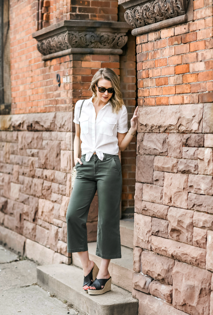 cropped wide leg chinos