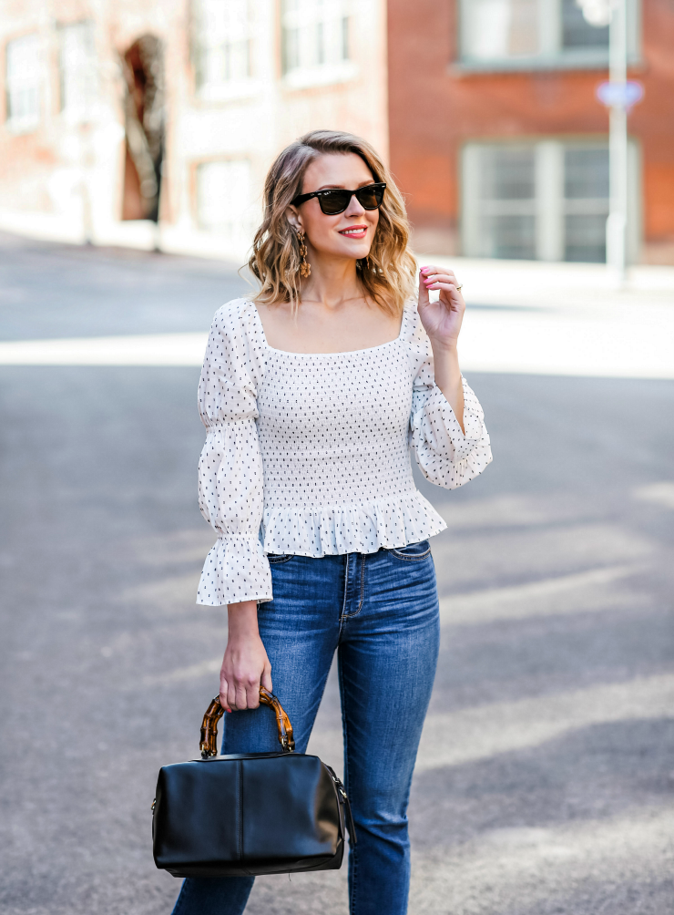 smocked peplum top