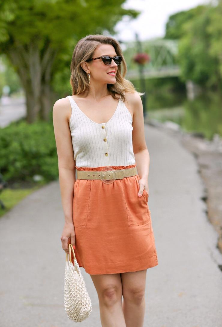 Caslon Linen-Blend Skirt