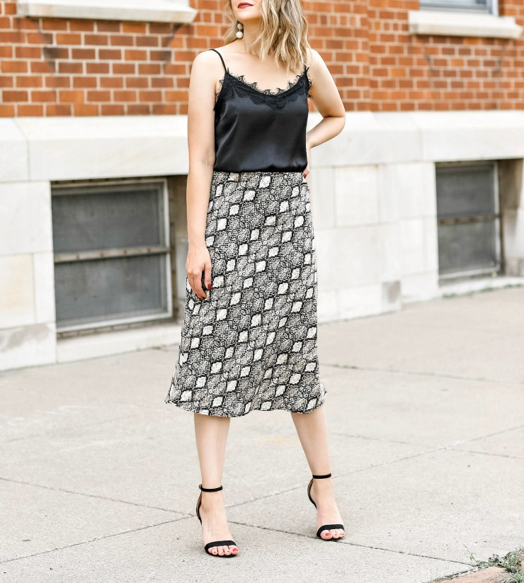 bias cut midi skirt
