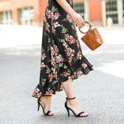 fall floral midi skirt