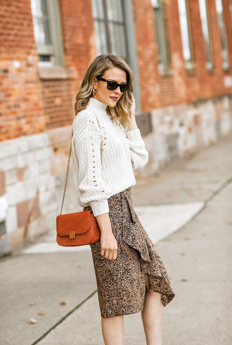 1.State Ruffled Leopard Skirt
