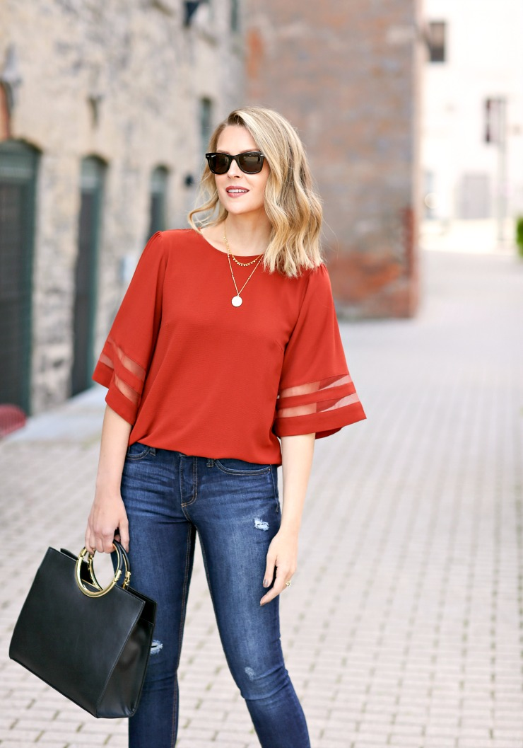 Maurice's mesh inset blouse