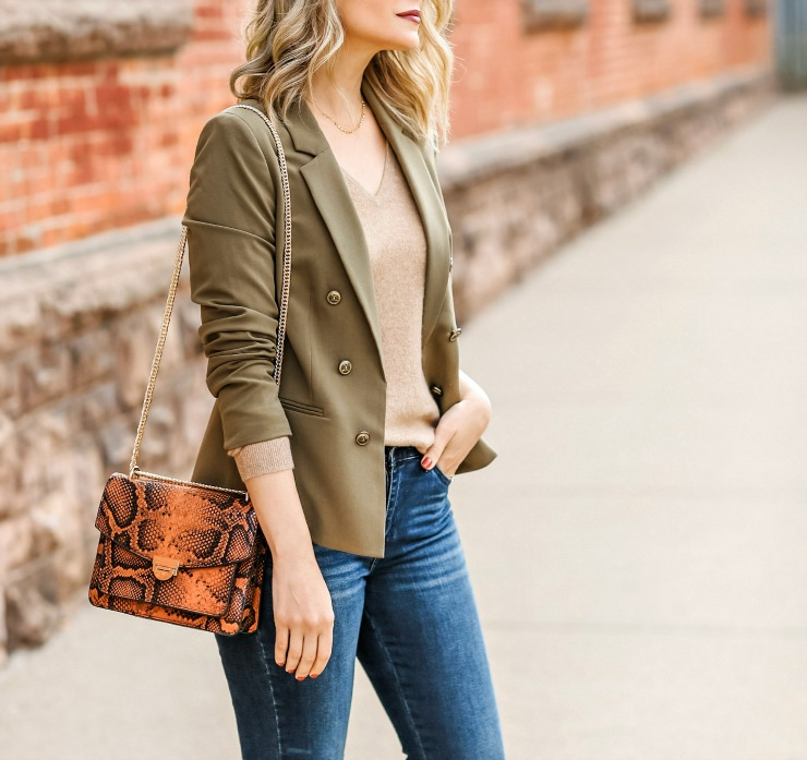 olive buttoned blazer
