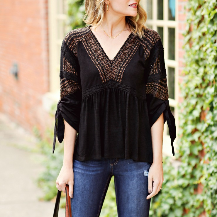 Time and Tru Mixed Peasant Top